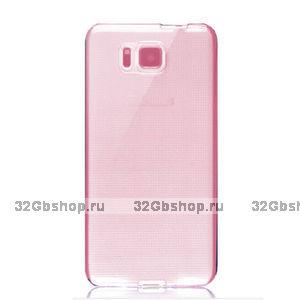 Розовый прозрачный силиконовый чехол для Samsung Galaxy Alpha ультратонкий