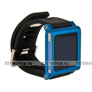Чехол LunaTik для iPod nano 6 в виде браслета черный ремешок синий корпус