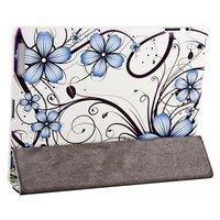 Чехол Jisoncase для iPad 4/ 3/ 2 белый с узором голубые цветы