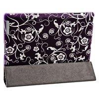 Чехол Jisoncase для iPad 4/ 3/ 2 темно-фиолетовый с узором белые цветы