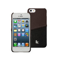 Кожаная накладка JisonCase для iPhone 5s / SE / 5 - JisonCase Fashion Strip Case Black&Brown