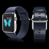 Синий кожаный ремешок для Apple Watch 42мм - G-Case Genuine Leather Watchband Blue