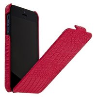 Кожаный чехол Borofone для iPhone 5s / SE / 5 - Crocodile flip Leather case Rose red