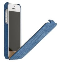 Кожаный чехол Borofone для iPhone 5s / SE / 5 синий - Crocodile flip Leather case Blue