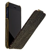 Кожаный чехол Borofone для iPhone 5s / SE / 5 - Borofone Lizard flip Leather Case Black