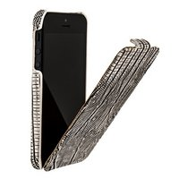 Кожаный чехол Borofone для iPhone 5s / SE / 5 - Borofone Lizard flip Leather Case Silver