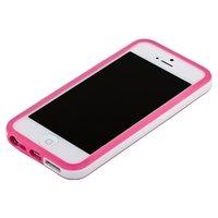 Бампер для iPhone 5 / 5s / SE розовый с белой полосой