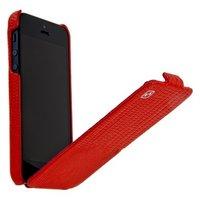 Кожаный чехол HOCO для iPhone 5c красная ящерица - HOCO Lizard pattern Leather Case Red