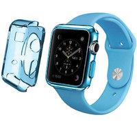 Голубой прозрачный тонкий силиконовый чехол для Apple Watch 42мм