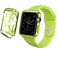 Зеленый прозрачный тонкий силиконовый чехол для Apple Watch 42мм
