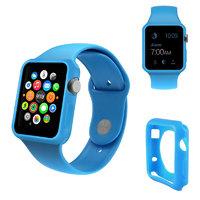 Голубой силиконовый чехол для Apple Watch 42мм