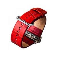 Красный кожаный ремешок для Apple Watch 38mm - iBacks Croco Premium Leather Watchband Red
