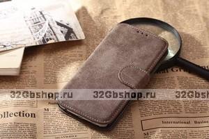 Чехол книжка - кошелек для Samsung Galaxy S6 коричневый с отделением для карт