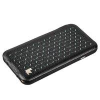 """Черный кожаный чехол для iPhone 6s / 6 (4.7"""") зеленые вставки - Jisoncase Executive Flip Case"""