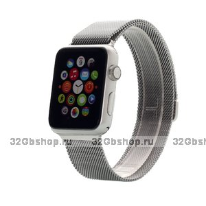 Стальной магнитный ремешок для Apple Watch 42mm браслет миланское плетение