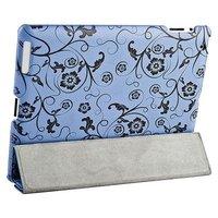 Чехол Jisoncase для iPad 4/ 3/ 2 голубой с черными вензелями и цветами