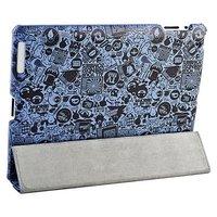 Чехол Jisoncase для iPad 4/ 3/ 2 голубой с черным паттерном