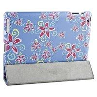 Чехол Jisoncase для iPad 4/ 3/ 2 голубой с узором розовые цветы