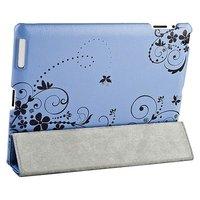 Чехол Jisoncase для iPad 4/ 3/ 2 голубой с черным узором цветы и вензеля