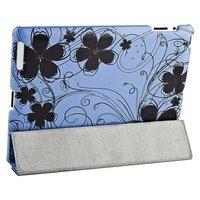 Чехол Jisoncase для iPad 4/ 3/ 2 голубой с рисунком черные цветы