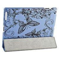 Чехол Jisoncase для iPad 4/ 3/ 2 голубой  с узором черные бабочки