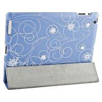 Чехол Jisoncase для iPad 4/ 3/ 2 голубой с рисунком белые цветы