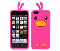 Силиконовый чехол накладка Silikone Duck Case для iPhone 5c розовый утенок