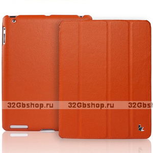 Кожаный чехол Jisoncase для iPad 4 / 3 / 2 оранжевый