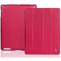Кожаный чехол Jisoncase для iPad 4 / 3 / 2 пурпурный