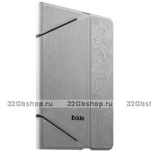 Белый чехол книга с тесненнием iBacks VV Structure Leather Case для iPad mini 3 /2 -  VV Structure Leather Case Venezia White