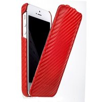 Чехол Melkco для iPhone 5 / 5s / SE Leather Case Jacka Type (красный карбон)