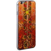 Стекло защитное с узором оранжевая хохлома с полосками для iPhone 6s/ 6 комплект на 2 стороны
