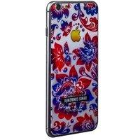 Стекло защитное с узором для iPhone 6s/ 6 комплект на 2 стороны хохлома сине-красная