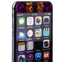 Стекло защитное с узором фиолетовая хохлома с полосками для iPhone 6s Plus/ 6 Plus комплект на 2 стороны