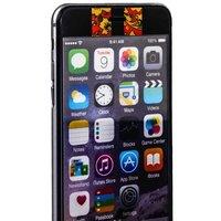 Стекло защитное с узором для iPhone 6s Plus/ 6 Plus комплект на 2 стороны черная хохлома с полосками
