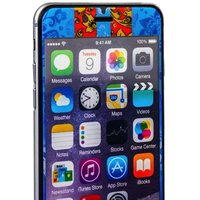 Стекло защитное с узором для iPhone 6s Plus/ 6 Plus комплект на 2 стороны синяя хохлома с полосками