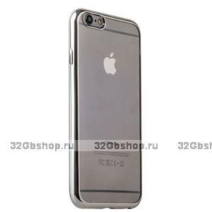 Супертонкий силиконовый чехол с серебристым ободком для iPhone 6s plus / 6 plus
