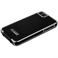 Чехол кожаный i-Carer для iPhone 5s / SE / 5 electroplating flip case series Черный