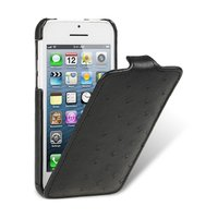 Кожаный чехол Melkco для iPhone 5C черный страус - Melkco Leather Case Jacka Type Ostrich Print pattern - Black