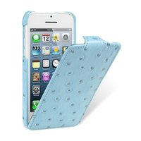 Кожаный чехол Melkco для iPhone 5C голубой страус - Melkco Leather Case Jacka Type Ostrich Print pattern - Blue