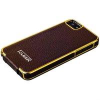 Чехол кожаный i-Carer для iPhone 5s / SE / 5 electroplating flip case series Коричневый