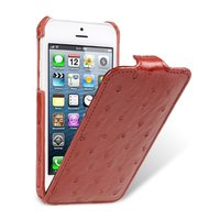 Кожаный чехол Melkco для iPhone 5C красный страус - Melkco Leather Case Jacka Type Ostrich Print pattern - Red