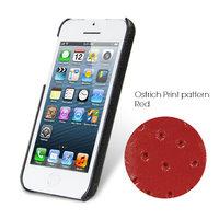 Накладка кожаная Melkco для iPhone 5C красный страус - Melkco Leather Snap Cover Ostrich Print pattern - Red
