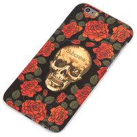Черный пластиковый чехол накладка для iPhone 6s / 6 с рисунком Череп и розы