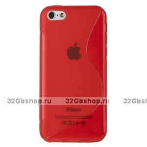 Cиликоновый чехол накладка S Style Red Case для iPhone 5c красный