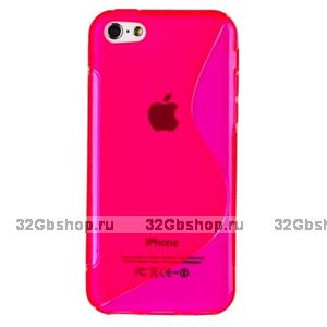 Cиликоновый чехол накладка S Style Pink Case для iPhone 5c розовый