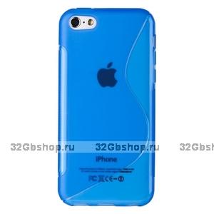 Cиликоновый чехол накладка S Style Blue Case для iPhone 5c синий