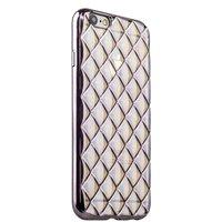 Объемный силиконовый чехол для iPhone 6s / 6 прозрачный с серебристыми ромбами