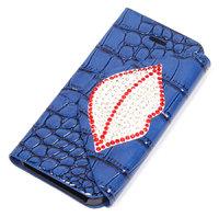 Чехол футляр книга для iPhone 5 / 5s / SE синий со стразами
