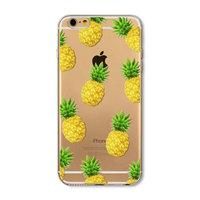 """Прозрачный пластиковый чехол накладка для iPhone 6 Plus / 6s Plus (5.5"""") с рисунком Ананасы"""